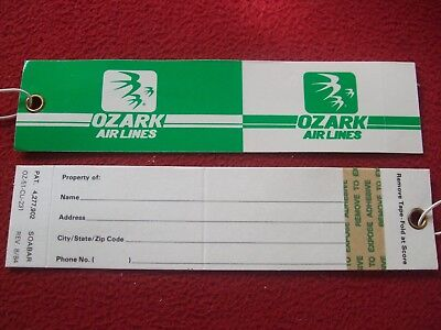 Airline Baggage Tags X 2 Ozark Airlines 1980's / 90's Vintage