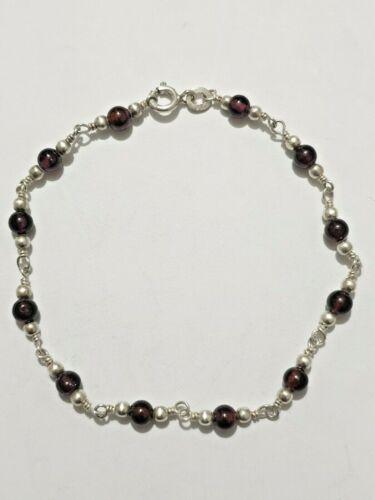 Excelente Vintage Granate Y Plata Pulsera De Perlas 925 Plata Maciza 19 Cm