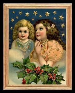 Victorian Christmas Girls Miniature Dollhouse Picture