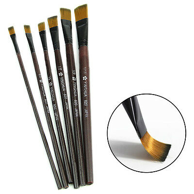 New 6 Brown Tip Nylon Paint Brushes For Art Artist Supplies Useful