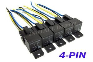 5 Pair - 12V Automotive Relays & Wire Harness 4-PIN Single Pole SPST  Pole Automotive Wire Harness on automotive wire terminals, automotive wire assortment, automotive wire connector, automotive wire clamp, automotive wire cover, automotive wire gauge,