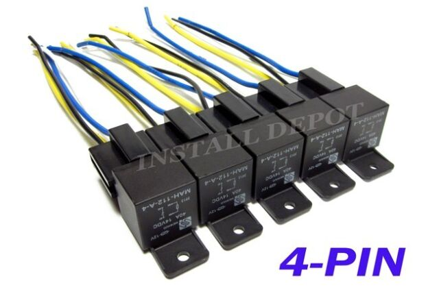 5 Pair - 12V Automotive Relays & Wire Harness 4-PIN Single Pole SPST  Pole Automotive Wire Harness on