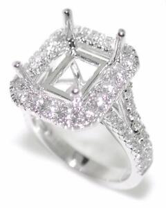 Elegant-1-34-Ct-Diamond-Halo-Semi-Mount-Setting-for-Emerald-Cut-14K-White-Gold
