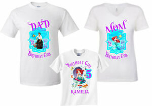ADD any name and age Ariel Birthday Shirt, ,VISIT OUR SHOP!! Little Mermaid Birthday Party Birthday Girl Shirts Ariel#2 FAMILY Matching Shirts Ariel Princess Birthday Shirt