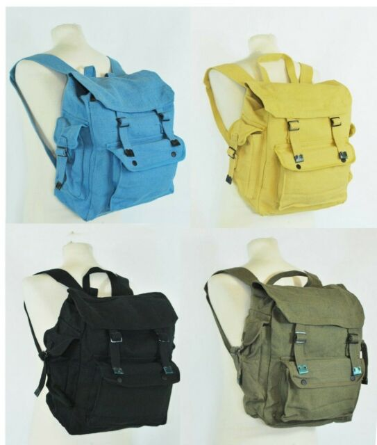 5be6291a6c Large Strong Canvas Rucksack/Backpack Laptop Satchel Bag  Blue/Yellow/Green/Black