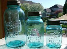Lot of 3 vintage Blue Ball Prefect Mason Jars- pint quart half gallon Zinc Lids