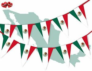 Mexico-Full-Flag-Patriotic-Themed-Bunting-Banner-15-Triangle-flags