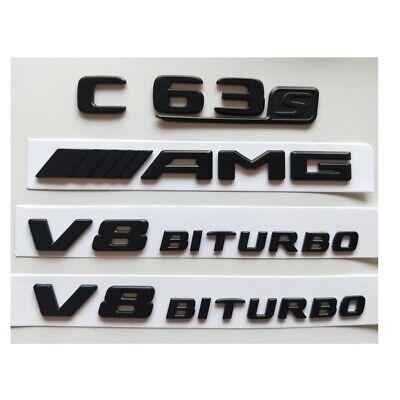 Black C63 AMG V8 BITURBO Trunk Fender Badges Emblems for Mercedes Benz W205