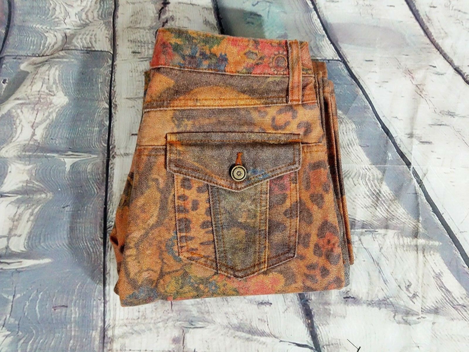NWOT Cache Women's gold Brown Animal Print Floral Flare Boot Cut Denim Jeans 6