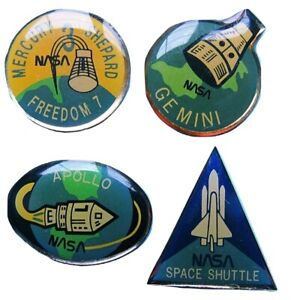 PIN-LOT-of-4-vtg-NASA-Apollo-Mercury-Gemini-Space-Shuttle-FUJI-FILM-promotion