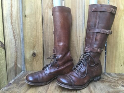VTG MENS UNBRANDED MILITARY 40S' BROWN BOOTS SIZE