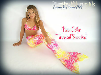"Mermaid Tail for Swimming! With Monofin ""Tropical Sunrise"""