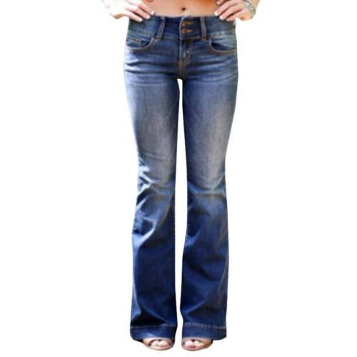 Womens Flared Jeans Bootleg Bell Bottoms Denim Skinny Stretch Fit Pants Trousers
