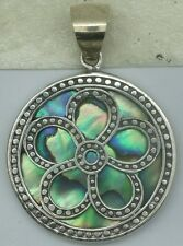 Handcrafted Round Abalone Shell (New Zealand Paua) Pendant in 925 Silver #A81