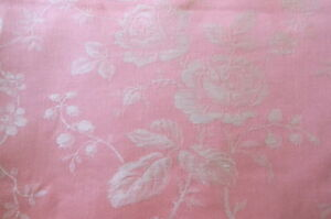 Antique-Vintage-French-Pink-Roses-Garland-Linen-Cotton-Ticking-Damask-Fabric