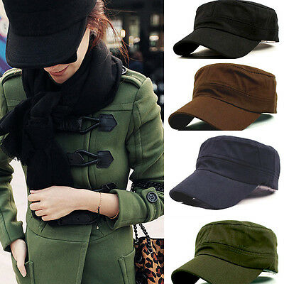 Fashion Hot Classic Army Plain Vintage Hat Cadet Military Patrol Cap Adjustable