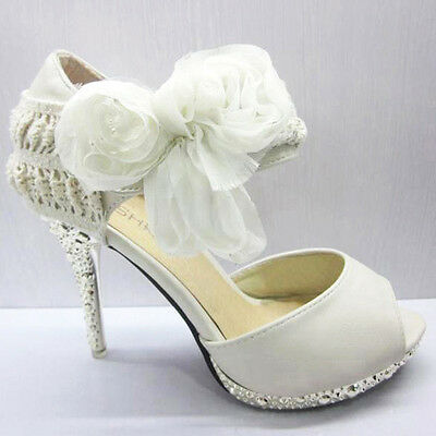 Wedding Shoes Bridal Flower Bows Open Toe Sandals  Ankle Straps High Heels