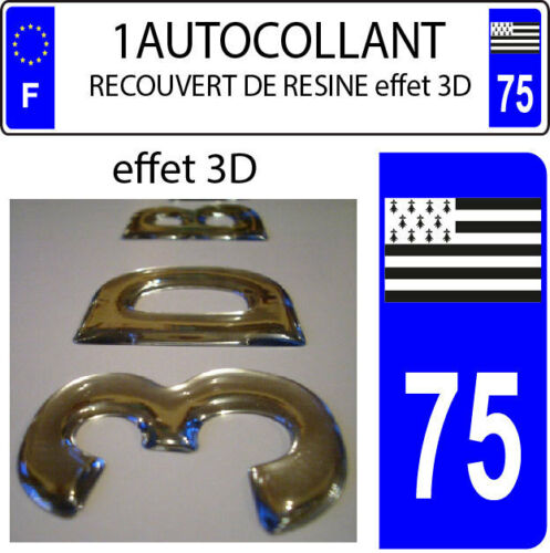 1 sticker plaque immatriculation auto DOMING 3D RESINE DRAPEAU BRETAGNE DEPA 75