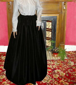 Ladies-Victorian-Edwardian-costume-SKIRT-gentry-ball-gown-fancy-dress-black