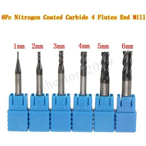 6Pcs Straight Shank 4 Flute End Mill Set Carbide Tool 1//2//3//4//5//6mm Cut Wood CNC