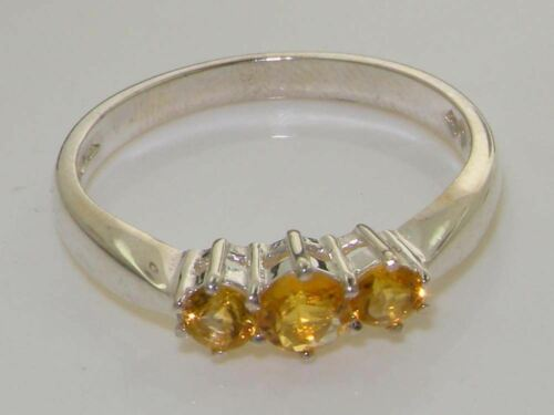 Details about  /Solid Sterling Silver NATURAL CITRINE Trilogy Birthstone Band Ring FULL HALLMARK