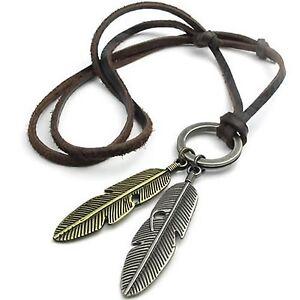 MENDINO-Men-039-s-Women-039-s-Alloy-Leather-Pendant-Necklace-Angel-Feather-Adjustable