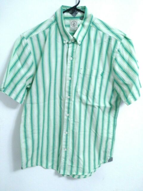 Men's Medium Classic Fit Volcom Green White Striped Short Sleeve Button Up Shirt