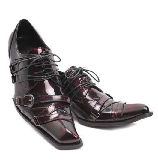 Luxury De Hombre Slip On Dress Zapatos Puntera en Punta Metal Punta con Cordones Boda Formal W954