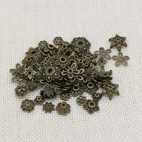 10//25//50//100x tapas de perlas Mix-perlas capuchón bronce-metal decorativas DIY spacer