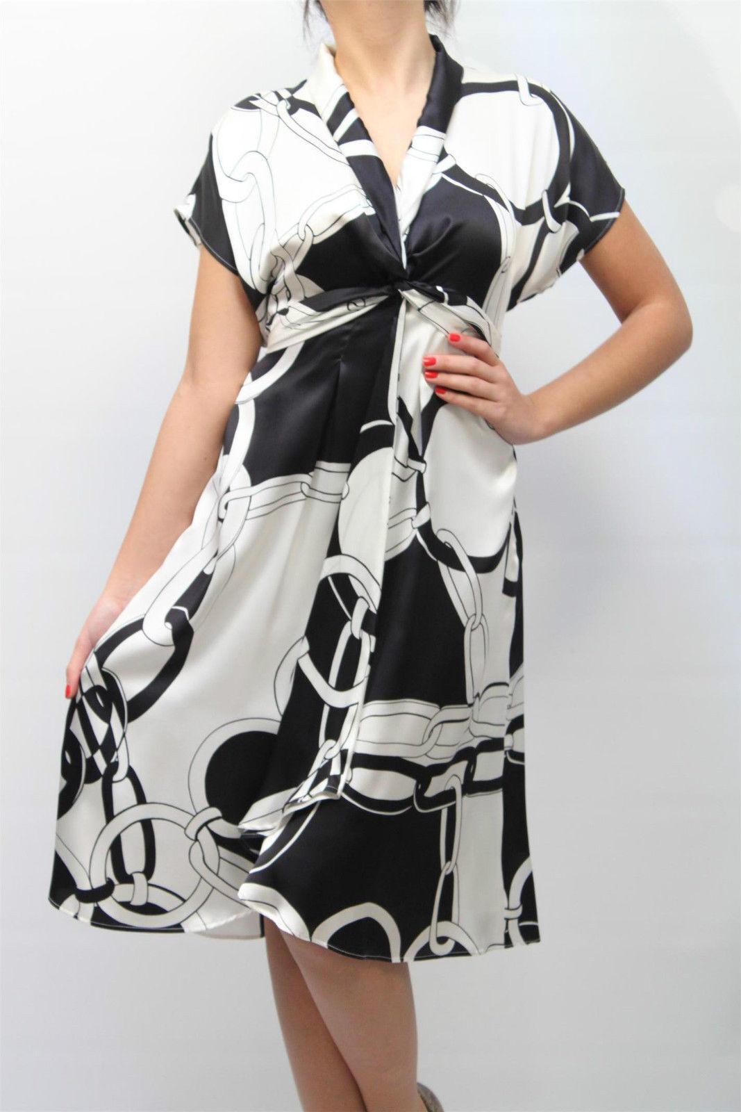 ABITO CLIPS women DRESS ПЛАТЬЕ 100% Seta,S11 H0803028 BIANCO black MIS.48 PP 11