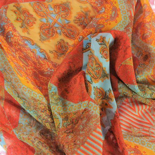 "Orange Boho paisley print CHIFFON semi Sheer draping Lingerie Fabric 60/"" BYD"