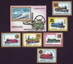 Ajman 1972 Locomotives/ Trains/ Railway ** MNH complete set (6v+1S/S) 10,5 €