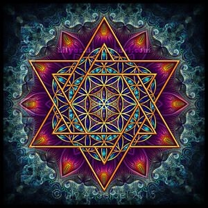 Blume-des-Lebens-Sticker-Teal-10-5cm-Hexagramm-Merkaba-Heilige-Geometrie-Mandala