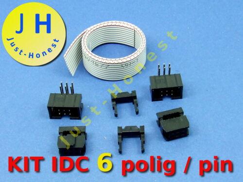 30 cm i cavi a nastro Ribbon Cable Jack spina header KIT IDC 6 Poli//PIN