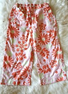LL-Bean-Youth-Girls-Cropped-Pants-Size-10-Pink-Flowers-Tropical-Hawaiian