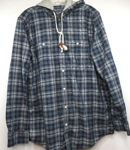 American-Rag-Cie-Womens-Blue-Plaid-Jacket-sz-L-Hooded-Button-Front-Shirt-Long-S