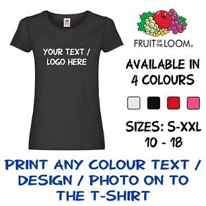Personalised-Custom-Printed-Lady-Fit-T-Shirt-Text-Logo-Full-Colour-Women-Hen