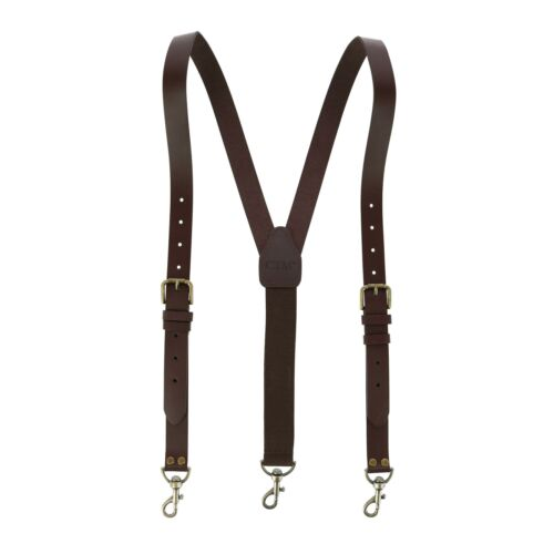 New CTM Men/'s Coated Leather Buckle Strap Suspenders with Metal Swivel Hook Ends
