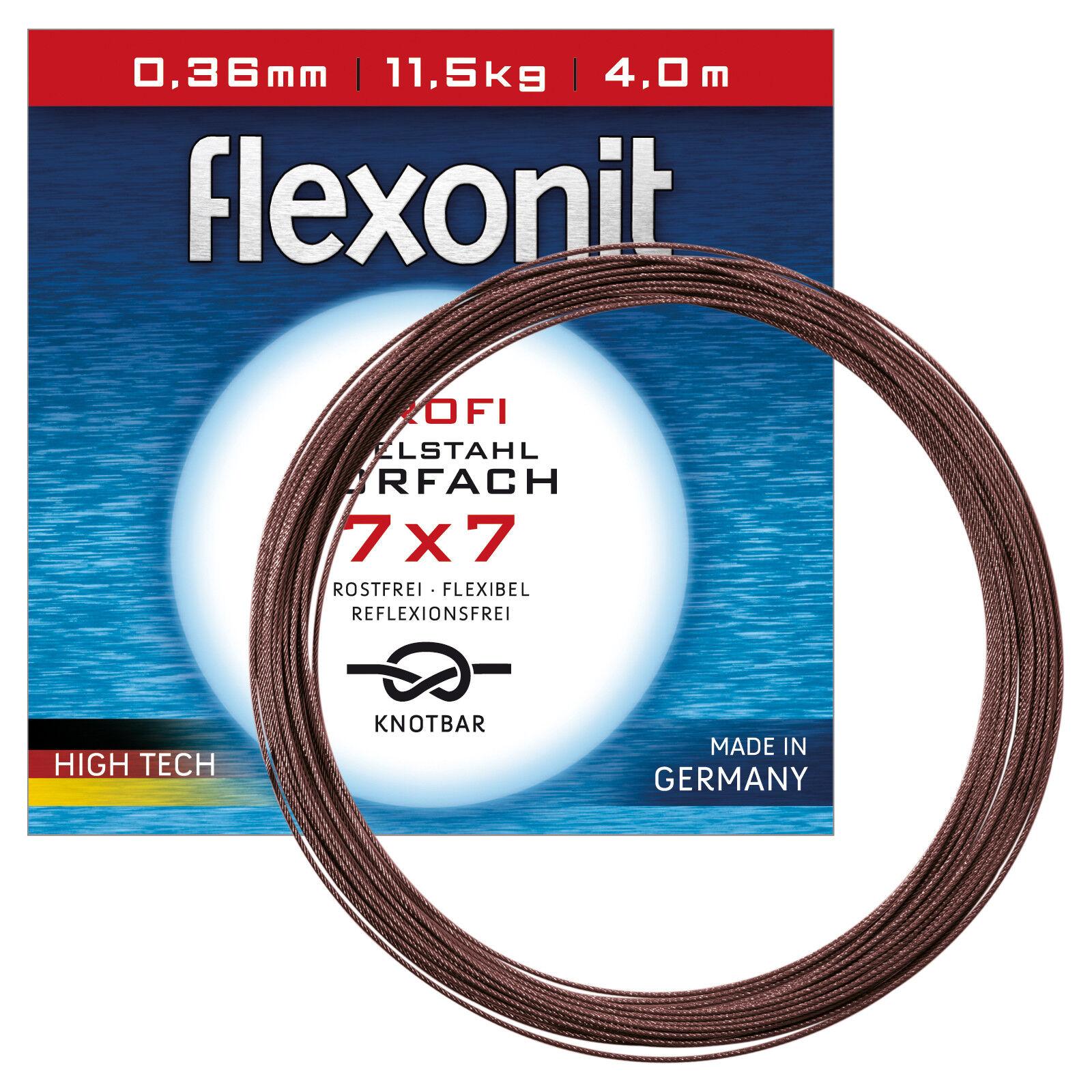 1,28eurm flexonit ACCIAIO i terminali pesca metraggio  7x7 0,54mm 24,0kg 100m