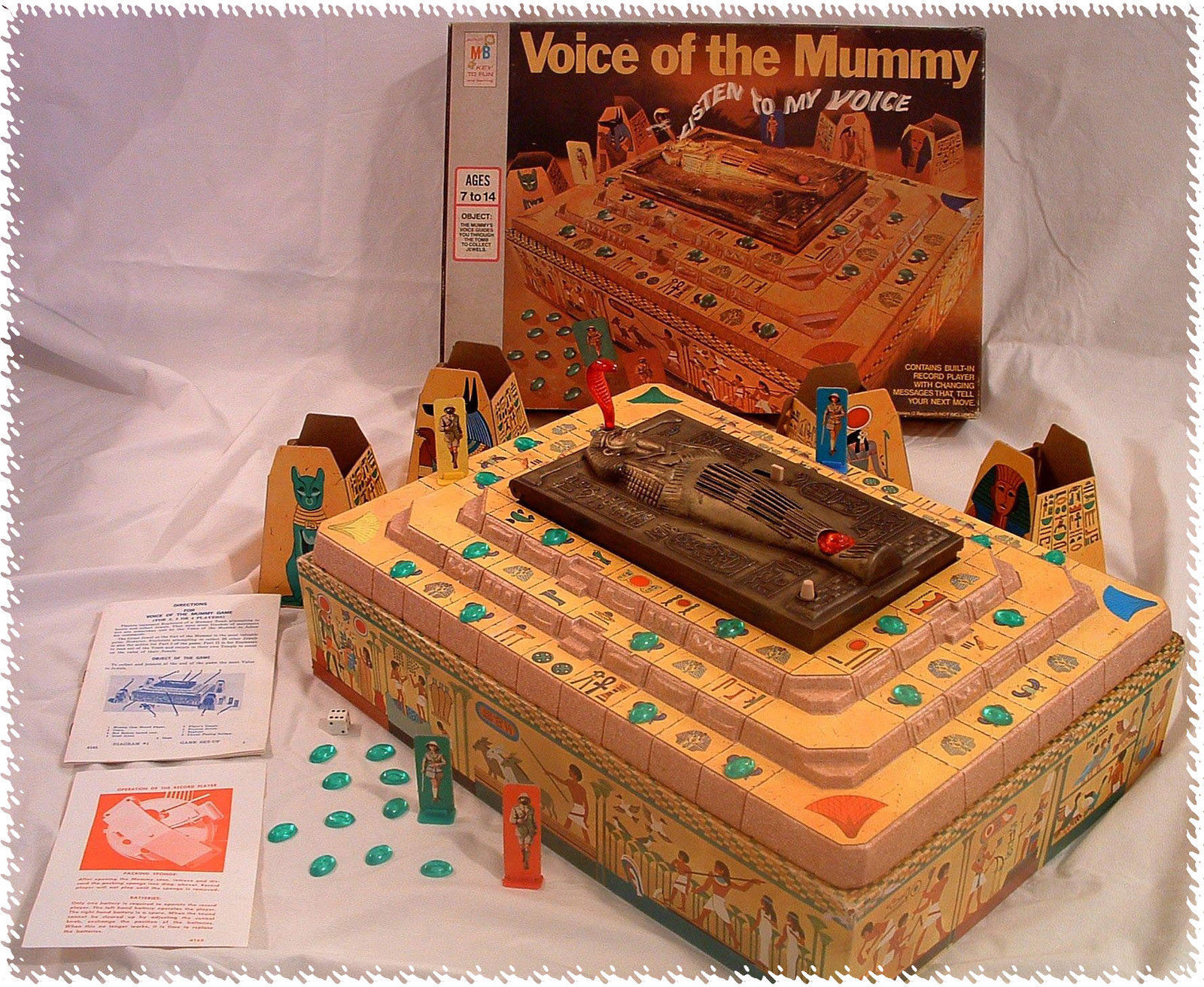 1971 Voice of the Mummy Board Game - Grün Grün Grün Precious Jewels-Complete Working 100% 9e4c2d
