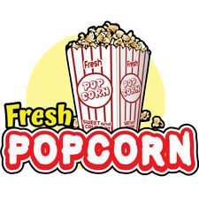 Fresh Popcorn Concession Decal Sign Cart Trailer Stand Sticker Equipment