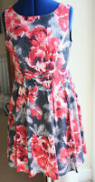 Great Red Herring Size 14 Pink Grey short Tea Dress no sleeve V back hardly worn