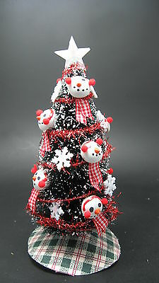 Dollhouse Miniature Handcrafted Sparkle Christmas Tree Silver Bows /& Balls 1:12