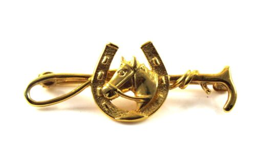 Equestrian Hand Detailed Brooch Solid Gold