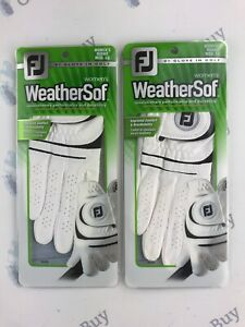 2-x-FootJoy-WeatherSof-Ladies-Golf-Gloves-BRAND-NEW-Right-Hand-Medium-Large
