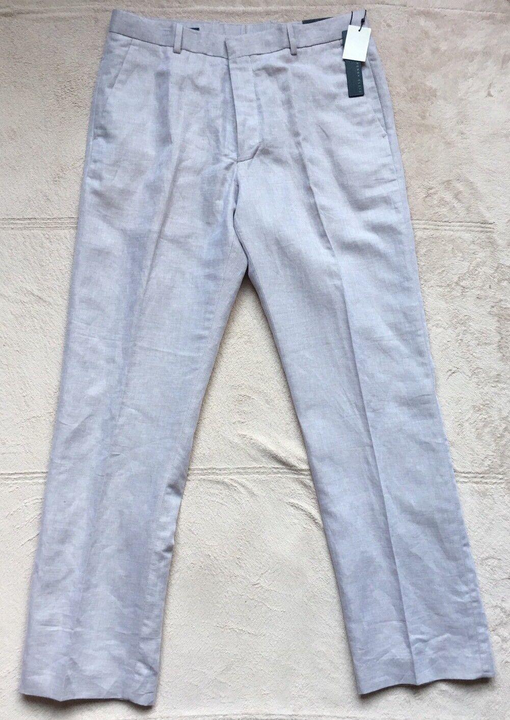 Perry Ellis Mens Natural Linen Core Pants, 32 X 32, Natural, Beige, New w  Tags