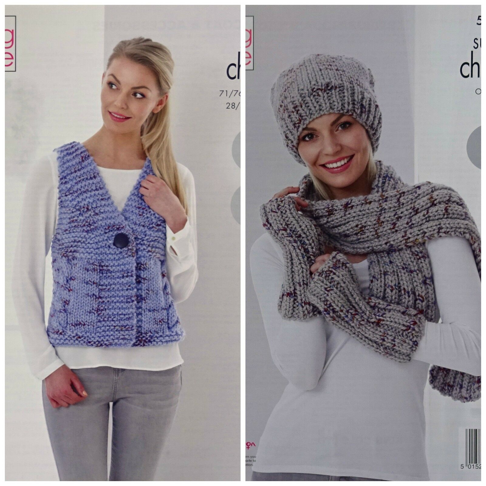 67d3b42bb92 Ladies Waistcoat Hat Scarf Gloves Knitting Pattern Super Chunky King ...