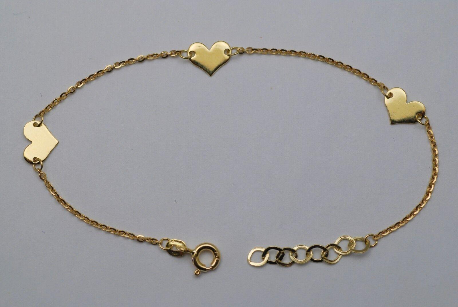 18K gold hearts  baby bracelet