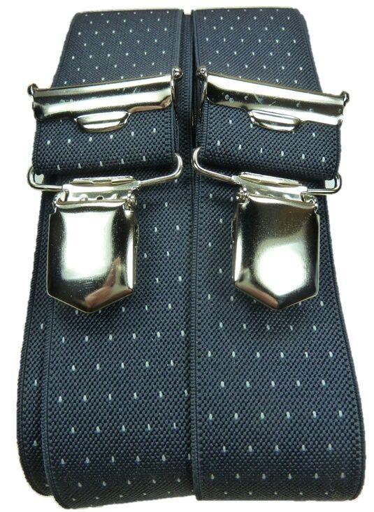 eleganter grauer Hosenträger, gepunktet,sehr starke,stabile Klips,35mm breit