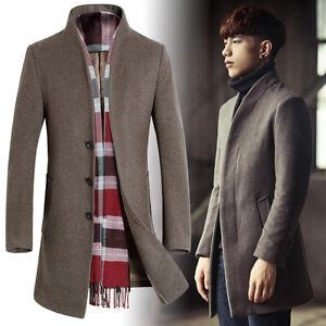 find workmanship sale online elegant in style Details about Korean Men's Wool Blend Formal Overcoat Trench Coat Slim Fit  Peacoat Long Jacket